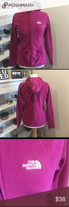 The NORTH FACE jacket coat Medium EUC North Face light weight coat jacket. Zips in front and has hood. Front pockets. The NORTH Face logo on front. Color is a pink purple color, like a fuschia. Excellent hoodie jacket. I ship fast. The North Face Jackets & Coats