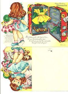 Uncut Paper Doll Greeting Card - Girl Doll Dog Birthday (11/10/2010)
