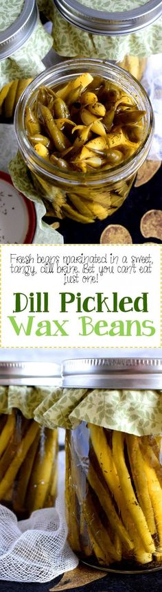 Pickled Wax Beans - Dill Pickled Wax Beans are super dilly with a hint of salty and peppery flavour. Stock you pantry full of these for a great side dish ready to go at any time! Side Dishes Easy, Side Dish Recipes, Veggie Recipes, Appetizer Recipes, Crockpot Recipes, Soup Recipes, Snack Recipes, Dinner Recipes, Dessert Recipes