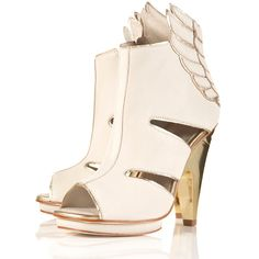 Wing High Sandals by Unique** ($220) ❤ liked on Polyvore featuring shoes, sandals, heels, high heels, topshop, women, leather heel sandals, cut out sandals, high heel shoes and cut-out shoes