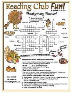 Thanksgiving Words Crossword Puzzle