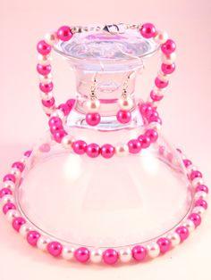 Handmade - Pink Mix Pearl Glass Jewelry Set (Necklace + Earrings + Bracelet) Glass Jewelry, Jewelry Sets, Femininity, Perfume Bottles, Pearls, Bracelets, Earrings, Pink, Handmade