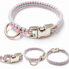 Small Dog Collar - Mini Paracord Dog Collar - Paracord 95 Dog Collar Paracord 95 Steel Buckle - Dog Collar - Macrame Dog Collar - Pink Dog by OurUniverseShop on Etsy