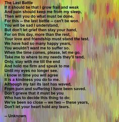 A beautiful poem for the loss of your dog. We just had to put down Corona, Beethoven's dear friend. I'm still grieving, but found this poem comforting as it is what we had to do. We were with her to say goodbye right until she closed her eyes for the last time.