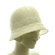 Handmade White Hat for Women - Downton Abbey Wedding Hat - Vintage Style Cloche Hat - Straw Hat. via Etsy.