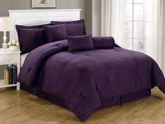 Chezmoi Collection 7-Piece Hotel Solid Dobby Stripe Comforter Set King, Purple