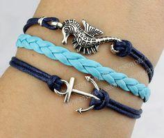 Silvery anchor bracelet seahorse bracelet antique by handworld, $4.99