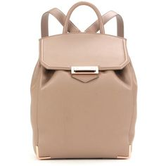 Alexander Wang Prisma Leather Backpack ($1,245) ❤ liked on Polyvore featuring bags, backpacks, beige, leather bags, real leather backpack, leather backpack, leather rucksack and beige bag