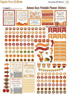 50% OFF TODAY Autumn Days Printable Planner Stickers #2 Pumpkins, Pumpkin Spice, Bible, Church, Cleaning, Exercise Icons