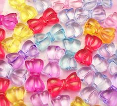 Extra cute and colourful double bow shaped beads with 3mm hole running vertically down the middle of the bow. #Decoden #Kawaii