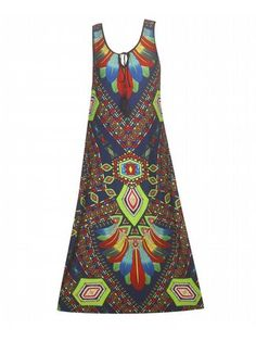 River Flows Maxi Dress $45  #alight #plussize #plussizefashion #plussizeclothing #spring #trend #trendy #cute #maxidress #dress #plussizedress #plussizemaxidress #prints #print #green #blue  Sleeveless maxi dress has a bright front and back geometric print and skinny tie with tassels at the neckline. Unlined.