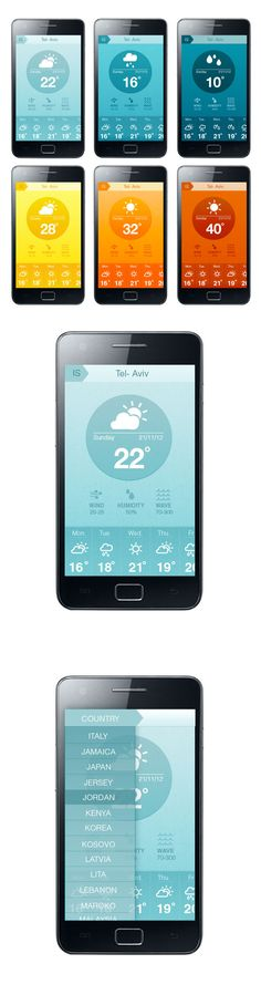 Weather Application Concept by hila peleg, via Behance *** #app #weather #gui #behance