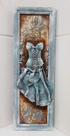 Altered Canvas, Altered Art, Mixed Media Canvas, Mixed Media Art, Paper Clay, Metal Crafts, Craft Patterns, Textile Art, Wall Art Decor
