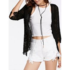 Stylish 3/4 Sleeve Collarless Hollow Out Women's Lace Blouse