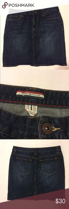 Tommy Hilfiger Denim Skirt Tommy Hilfiger denim skirt with the logo on the back pocket. Tommy Hilfiger Skirts