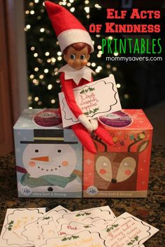 Elf Acts of Kindness - Free Printables to use with your Elf on the Shelf #elfontheshelf #racks