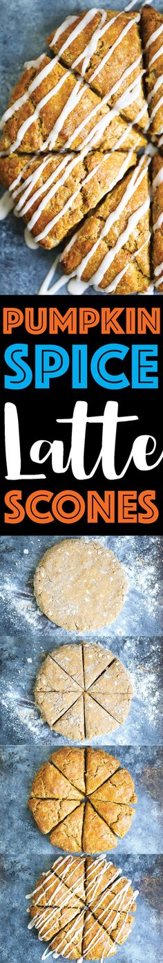 Pumpkin Spice Latte Scones - The most perfectly spiced pumpkin scones! It basically tastes like a pumpkin spice latte, except with a cinnamon glaze drizzle!