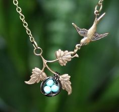 Mother's day jewelry  Bird Necklace with Bird Nest by smilesophie, $19.00