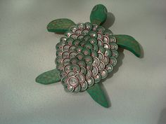 Beer Bottle Cap Turtle Wall Art by outsidetheboxsuzie on Etsy, $45.00