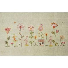 Dans mon jardin (In my Garden No. Embroidery Patterns Free, Hand Embroidery Stitches, Embroidery Applique, Cross Stitch Embroidery, Embroidery Designs, Crazy Quilting, Cross Stitch Kits, Cross Stitch Patterns, Broderie Simple