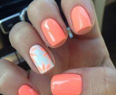 nail polish ideas for summer - nail polish ideas ; nail polish ideas for spring ; nail polish ideas for summer ; nail polish ideas for winter ; Coral Gel Nails, Coral Nails With Design, Cute Gel Nails, Toe Nails, Coffin Nails, Coral Nail Art, Orange Nails, Polish Nails, Simple Gel Nails