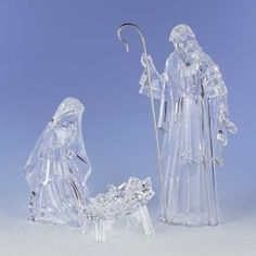"$189.99-$224.99 From the Icy Crystal Collection Item #38437  Features Mary, Joseph & Baby Jesus with a chiseled cut glass look  Dimensions: 15.5""H (tallest piece) Material(s): acrylic"