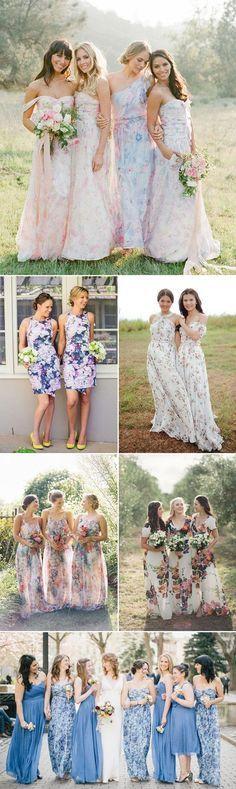 Watercolor Floral Print Bridesmaid Dresses / http://www.himisspuff.com/bridesmaid-dress-ideas/15/