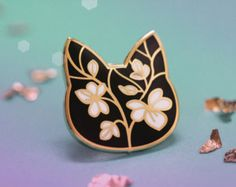 Floral Cat Enamel Pin - Edit Listing - Etsy