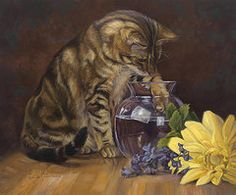 Domestic Cats Paintings - Paw in the Vase  by Lucie Bilodeau