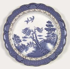 Blue Willow Fabric Dishes White China
