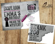 Escape Room Invite plus Thank You Card Option Girls or Boys