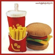 Felt Fruit Patterns Free | VERY HAPPY MEAL - PDF Felt Food Pattern (Hamburger, Milk Shake, Fries)