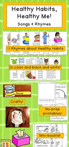 Reinforce health concepts like washing hands, taking baths, and healthy eating with these eleven original rhymes. Color and black and white versions of each rhyme are included as well as no prep printables a Mini-Booklet, and crafts. Bonus vocabulary cards are also included!