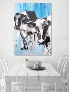 kunstdruck kuh in blau bild auf leinwand art decor pinterest art large canvas. Black Bedroom Furniture Sets. Home Design Ideas