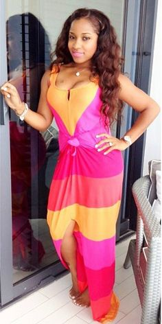 Toya Wright's Red, Orange, & Pink Colorblock Tie Front Maxi Dress