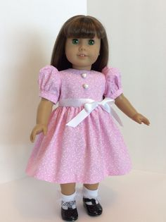 Pink Dress Dress with Hearts18 inch Doll Dress by JGooseandCo