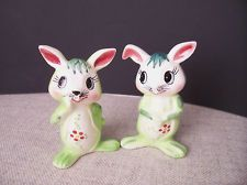 Vintage Light and Dark Green Bunny Salt and Pepper Shakers Floral Design Japan