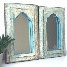 Blue and Cream Indian painted mirrors Moroccan Mirror, Morrocan Decor, Moroccan Bathroom, Moroccan Furniture, Indian Furniture, Moroccan Interiors, Small Mirrors, Mirror Painting, Houses