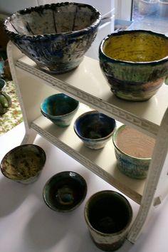 Sarah Green's bowls made in Norfolk. Raku
