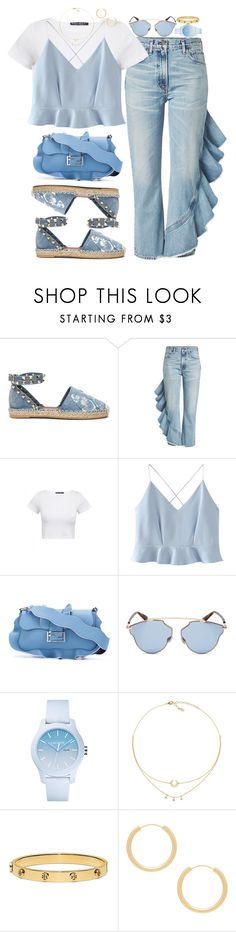 """The blues."" by jmelwis ❤ liked on Polyvore featuring Valentino, Citizens of Humanity, WithChic, Fendi, Christian Dior, Lacoste, Tory Burch and Elizabeth and James"