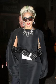 Lady Gaga sparkles. I love this look!