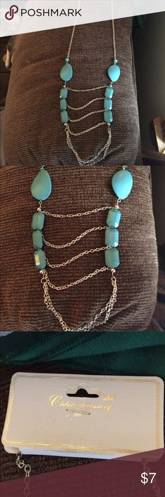 Never worn statement necklace Super cute just not my style! Yes colored beads and silver chains Jewelry