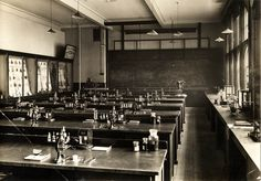 Birmingham Central Technical College c. 1927. Birmingham School of #Pharmacy, Pharmacognostical Laboratory / Botanical Laboratory. Aston University Collection. Click to view larger. History Of Pharmacy, Aston University, Science Room, Grammar School, Birmingham, Old Photos, College, Larger, Medicine