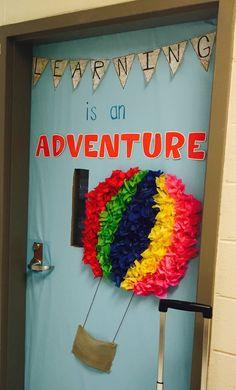 Classroom door decoration hot air balloon