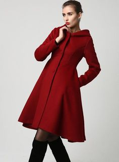 gift for women,This wool coat is for you if you are looking for a winter coat, features a hooded coat design, beautifully structured, triangular shaped, empire waist bodice with seam detailing that leads in a wide flowing skirt. Dark red coats never go out of style so you will get years of