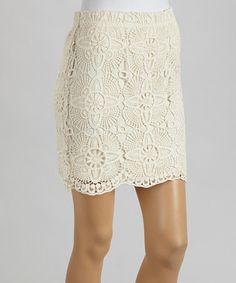 Take a look at this Cream Crocheted Miniskirt by Millenium Clothing on #zulily today!