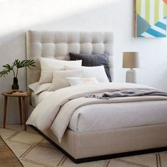 Grid-Tufted Plinth Bed - Oatmeal | West Elm