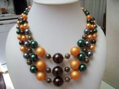 Pretty Vintage Multi Strand Orange Brown Green Grey Faux Pearl Bib Necklace #bib
