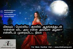 "Migavum Melliya Kuralil Athangathudan ""Ennai Vida Ava Enna Avlo Alagaa?"" Ennidam Muraiyitta Nila. Poems About Life, Life Poems, Tamil Kavithaigal, Ava, Movies, Movie Posters, Film Poster, Films, Popcorn Posters"