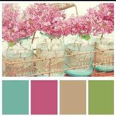 Color Inspiration - hydrangeas and vintage bottles